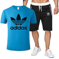 ADIDAS tide brand men and women sports fitness running set two-piece Blue