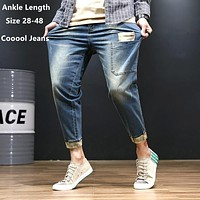 Black Jeans Men Denim Blue Jean Distressed Mens Jogger Pants Hip Hop Harem Stretch Man Teenager Trousers Plus Size 42 44 46 48