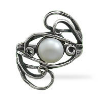 Oxidized Cultured Freshwater Pearl Ring