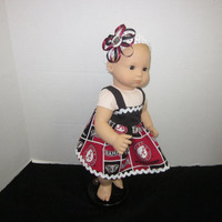 """American Girl Bitty Baby 15"""" Baby Doll Dress Made From University of Alabama Fabric Baby Doll Clothes Baby Dolls By Sweetpeas Bows & More"""