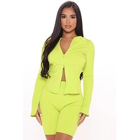 fhotwinter19 Women's new double zipper pit strip long-sleeved top and shorts two-piece suit