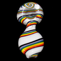 Rainbow on a Cloud Mini Wig Wag Glass Spoon Bowl - Heady Mini Glass Smoking Pipe w/ Rainbow Brite Kandi Colors on White Switchback Reversal