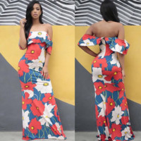 Long Sexy Off Shoulder Floral Printed Dress