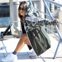 Adidas Jacket Camo Green Landscape Three Stripe Hoodie Windbreaker Jacket