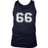 Men's Vintage Sports Jersey Number 66 Tank Top for Fan or Player #66