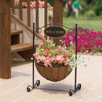 Pride Garden Products 14 in. Welcome Plant Stand With Coco Liner-99156 at The Home Depot