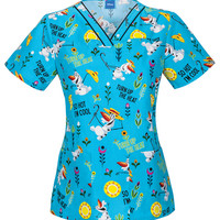 Frozen Scrub Top For Women - Turn Up The Heat with Olaf