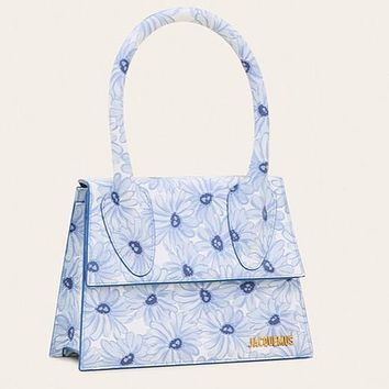 2020 new letter bag Le grand Chiquito blue flower bag shoulder handbag light blue