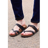Toe Strap Bork Slide On Sandals Leather Look {Black} - Size 10