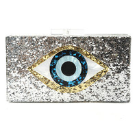 Confetti Evil Eye Acrylic Box Clutch