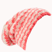 FOREVER 21 Candy Striped Open-Knit Beanie Neon Coral/Cream One