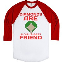 Diamonds Are Girls Best Friend-Unisex White/Red T-Shirt