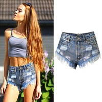 2017 Women Clothing High Waist Short Jeans 100% Cotton Sexy Girl Short Pants Jeans Vintage Ripped Hot Jeans with Rivet Tassel