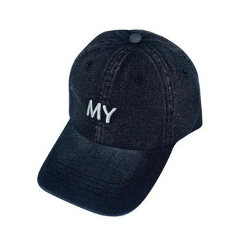 Fashion Women Ladies Casual Snapback Caps Hats Jeans Denim Adjustable MY Letter Embroidery Baseball Cap 2017 Gorras Mujer #63