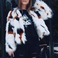 Euramerican V Neck Fur Design Coat