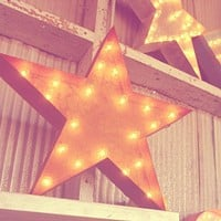"24"" Star Vintage Marquee Lights Sign (Rustic)"