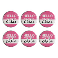 Chloe Hello My Name Is Plastic Resin Button Set of 6