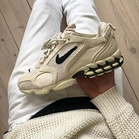 Stussy x Nike Air Zoom Spiridon Cage 2 Fossil sneakers shoes