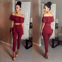 2017 Summer Sets Two Piece Set Women Ruffle Strapless Crop Top Long Pants Skinny Women 2 Piece Set Sexy Womens Suits Streetwear
