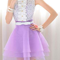 White and Purple Color Block Lace Layered Dress