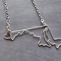 Custom State Love Necklace- Maryland State Necklace- Personalized Necklace- Any State or Country- Silver or Gold