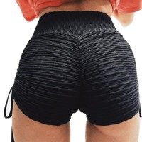 Laced Slit Solid Color Fitness Shorts