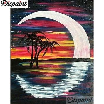 5D Diamond Painting Abstract Crescent Moon and Palms Kit
