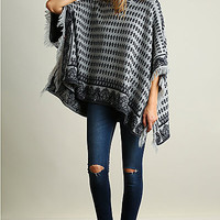 Hooded Poncho Sweater with Fringe Detail
