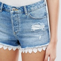 Miss Selfridge Crochet Detail Denim Shorts at asos.com