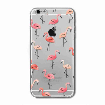 Flamingo Soft Clear Colorful Transparent Silicone Phone Case Cover For iPhone 6/6s