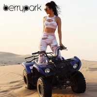 BerryPark Motorcycle Sport Outfits 2019 Summer Women Pink Camouflage Hollow Out Yoga Set Slim Stretchy Running Fitness Clothes