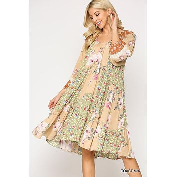 Gigio Floral Mixed Printed V-Neck Dress with Tiered Ruffle
