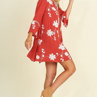 Embroidered Floral Dress - Sunset