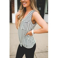 Harvey Striped Knot tank (Ivory/Black)