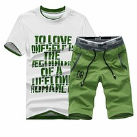 New Men T Shirt Sets Letter Printed Summer Suits Casual Tshirt Men Tracksuits Brand Clothing M-4XL Set Male T-shirt