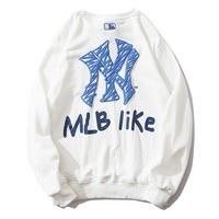NY hot selling casual hoodies for men and women, round-neck pullovers, long-sleeved terry loops, printed hoodies White