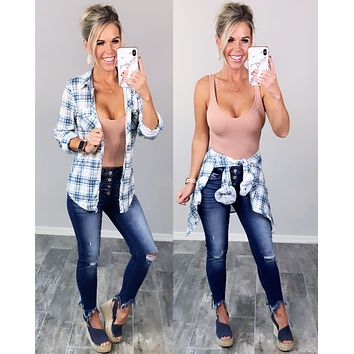 Penny Plaid Flannel Top - Ivory/Teal