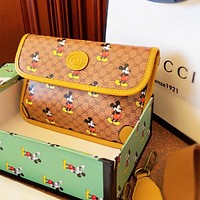 GUCCI x Disney Men Women Print Leather Chest Bag Waist Bag Shoulder Bag Satchel