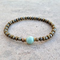 """Pyrite and Amazonite Fine Faceted """"Confidence and Positivity"""" Bracelet"""