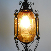Gothic Lantern / Amber Art Glass and Wrought Iron Swag Hanging Lamp / Ceiling Fixture / Spanish Gothic Chandelier