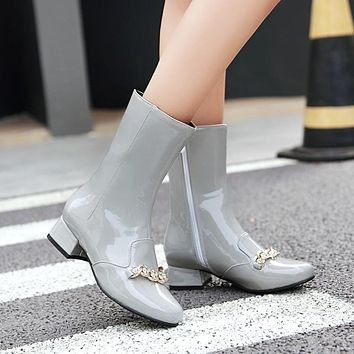 Rhinestone Chains Patent Leather Mid Calf Boots Side Zip 7272