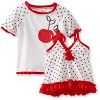 ABSORBA Baby Girls' Three Piece Red And White Swimsuit