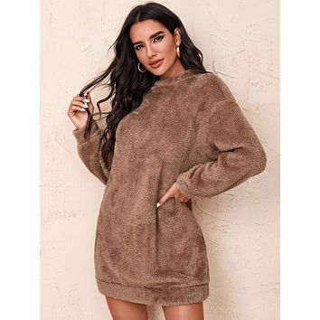 SHEIN Drop Shoulder Solid Teddy Dress