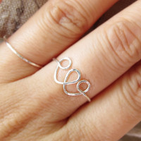 Adjustable Sterling Silver Double Heart Ring, Silver Hand hammered Heart Ring, Adjustable Silver Wire Ring, Love ring, Valentine's Day Gift