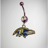 14 Gauge NFL Baltimore Ravens Belly Ring - Spencer's