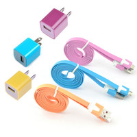 New Total 6pcs/lot! USB Cable Cord(1M) & USB Power Charger For Iphone 5