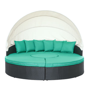 Quest Canopy Outdoor Patio Daybed in Espresso Turquoise