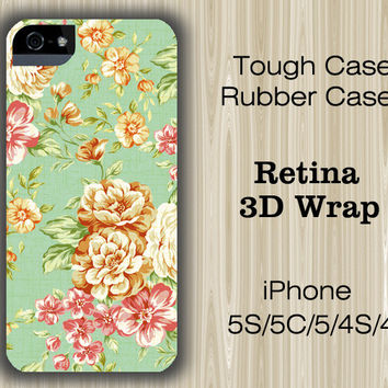 Elegant Green Floral iPhone 6/5S/5C/5/4S/4 Case