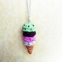 four scoop polymer clay ice cream cone necklace