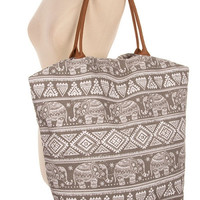 BOHO ELEPHANT PRINT GRAY LARGE CANVAS TOTE